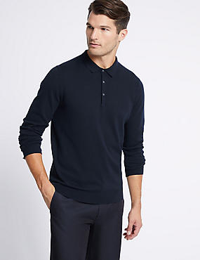 Cotton Rich Knitted Polo, NAVY, catlanding