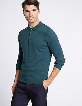 Cotton Rich Knitted Polo, TEAL, catlanding