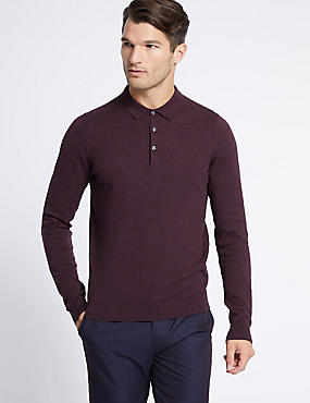 Cotton Rich Knitted Polo, BURGUNDY, catlanding