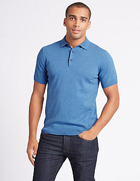 Cotton Rich Knitted Polo Shirt, , catlanding