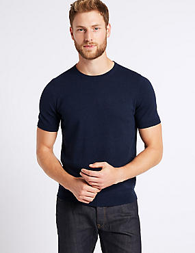 Cotton Rich Short Sleeve Knitted Top, , catlanding