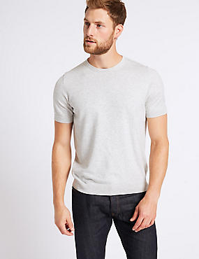 Cotton Rich Short Sleeve Knitted Top, GREY MIX, catlanding