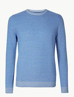 Pure Cotton Textured Jumper, BLUE MIX, catlanding