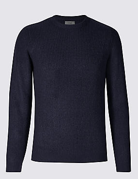 Supersoft Ribbed Jumper, NAVY, catlanding