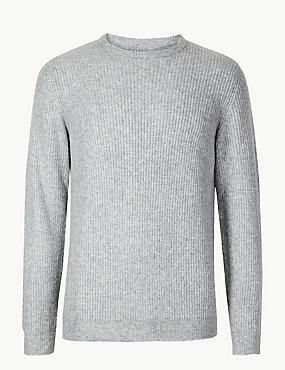 Supersoft Ribbed Jumper, SILVER GREY, catlanding