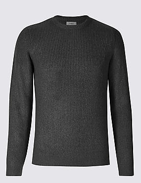 Supersoft Ribbed Jumper, CHARCOAL, catlanding