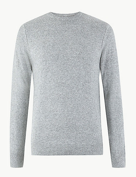 Striped Texture Crew Neck Jumper