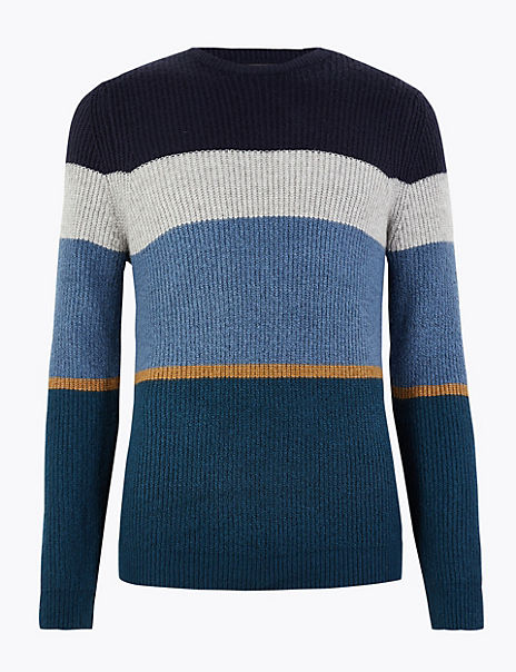 Supersoft Colour Block Crew Neck Jumper