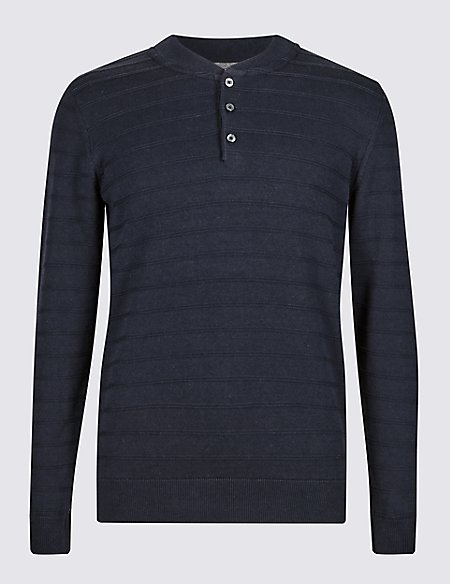 Pure Cotton Striped Tailored Fit Jumper