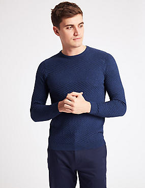 Pure Cotton Textured Slim Fit Jumper, BRIGHT BLUE, catlanding