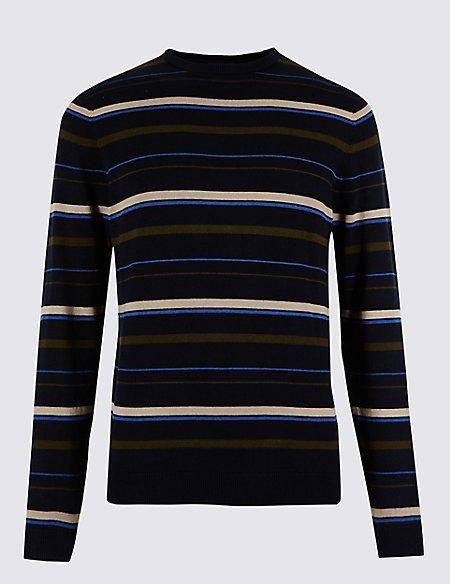 Pure Cotton Striped Slim Fit Jumper
