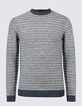 Cotton Rich Striped Slim Fit Jumpers, NAVY, catlanding