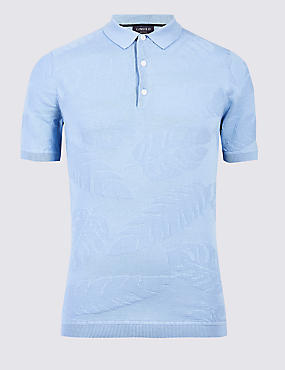Pure Cotton Textured Slim Fit Polo, BLUE, catlanding