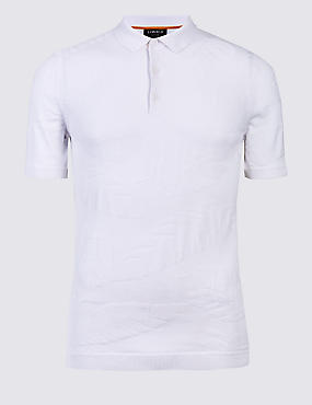 Pure Cotton Textured Slim Fit Polo, SOFT WHITE, catlanding