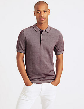 Pure Cotton Textured Slim Fit Polo, DARK WINE, catlanding