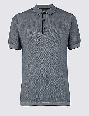 Pure Cotton Textured Slim Fit Polo, NAVY, catlanding