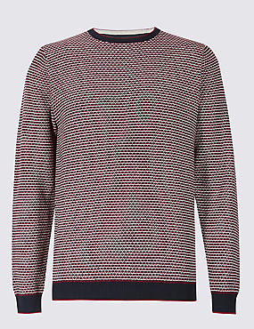 Pure Cotton Textured Jumper, RED MIX, catlanding