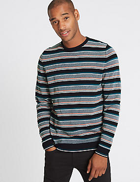 Cotton Rich Striped Slim Fit Jumper