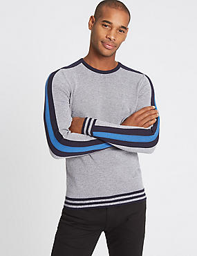 Cotton Rich Striped Slim Fit Jumper, GREY MIX, catlanding