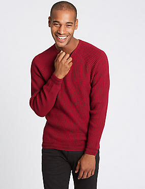 Cotton Rich Raglan Slim Fit Jumper