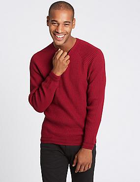 Cotton Rich Raglan Slim Fit Jumper , RED, catlanding