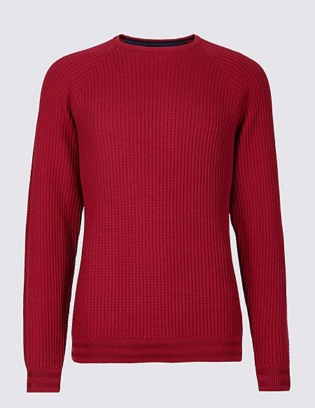Cotton Rich Textured Slim Fit Jumper