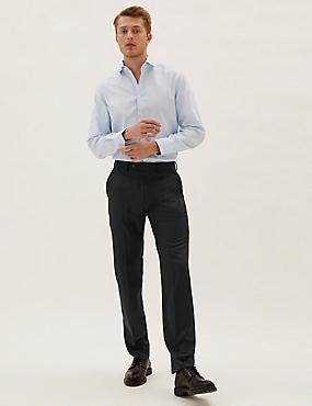 Pantalon sans pinces coupe ajustée 100% laine