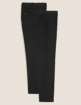 2 Pack Skinny Fit Flat Front Trousers
