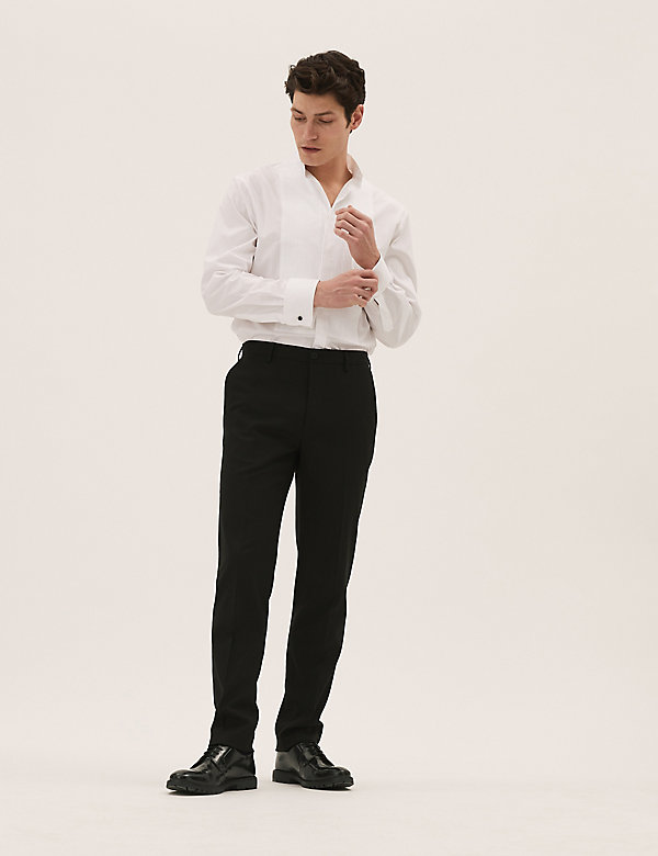 Slim Fit Flat Front Stretch Trousers