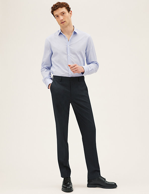 Tailored Fit Flat Front Stretch Trousers
