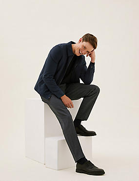 Slim Fit Check Flat Front Trousers