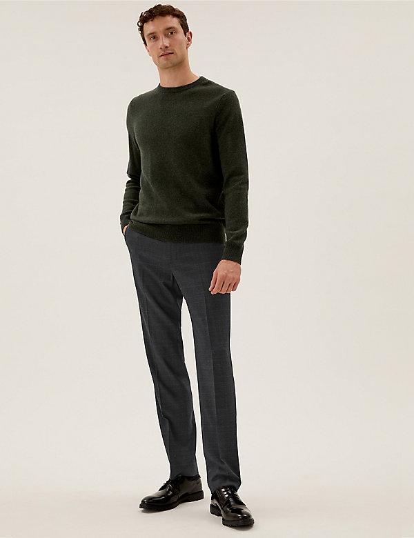 Regular Fit Wool Check 360 Flex Trousers