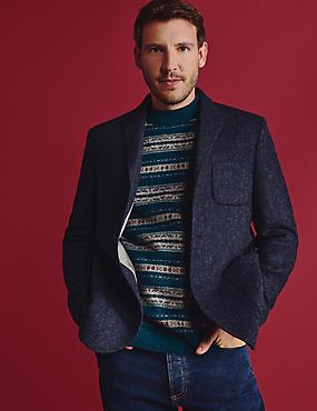 Vlněné sako vbritském stylu, mírně projmutý střih