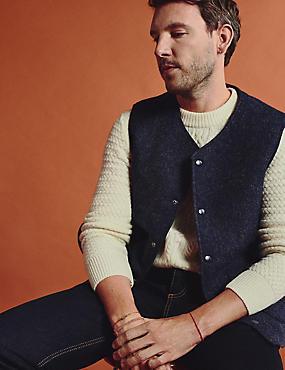 Veste sans manches en laine d'origine britannique à motif texturé