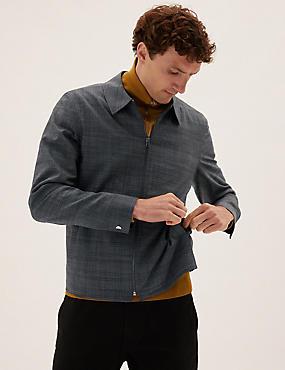 Wool Check Harrington Jacket