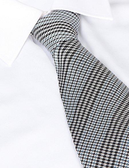 Best of British Dogtooth Striped Silk Tie