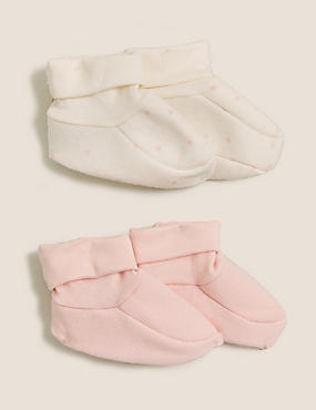 2pk Pure Cotton Booties (0-12 Mths)