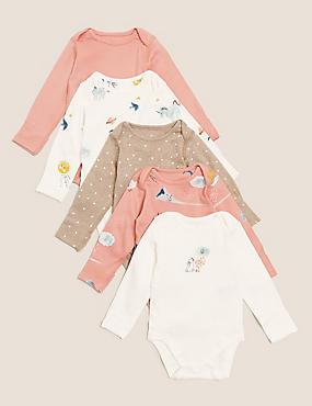 5pk Organic Cotton Patterned Bodysuits (61/2lbs - 3 Yrs)