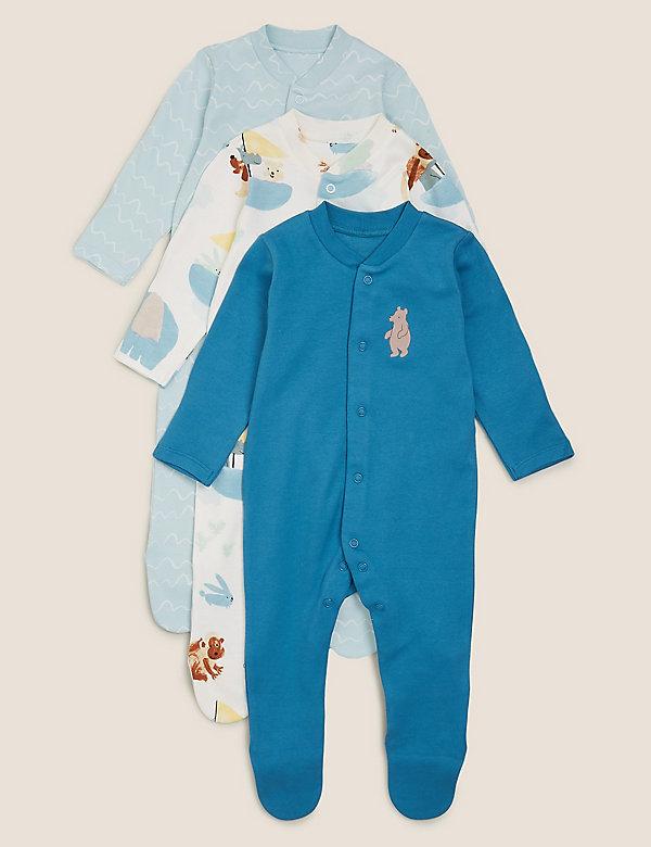 3er-Pack gemusterte Schlafanzüge aus Bio-Baumwolle (3 kg – 3 Jahre)