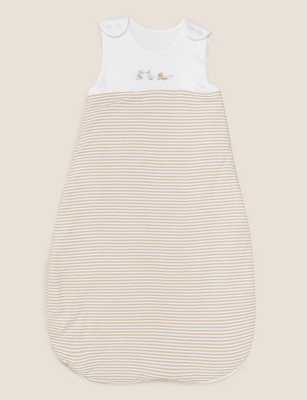 Gestreifter Baumwollschlafsack mit Tog-Wert 1,5 (0–36 Monate)