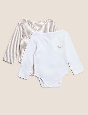 2pk Organic Cotton Striped Bodysuits (7lbs - 12 Mths)