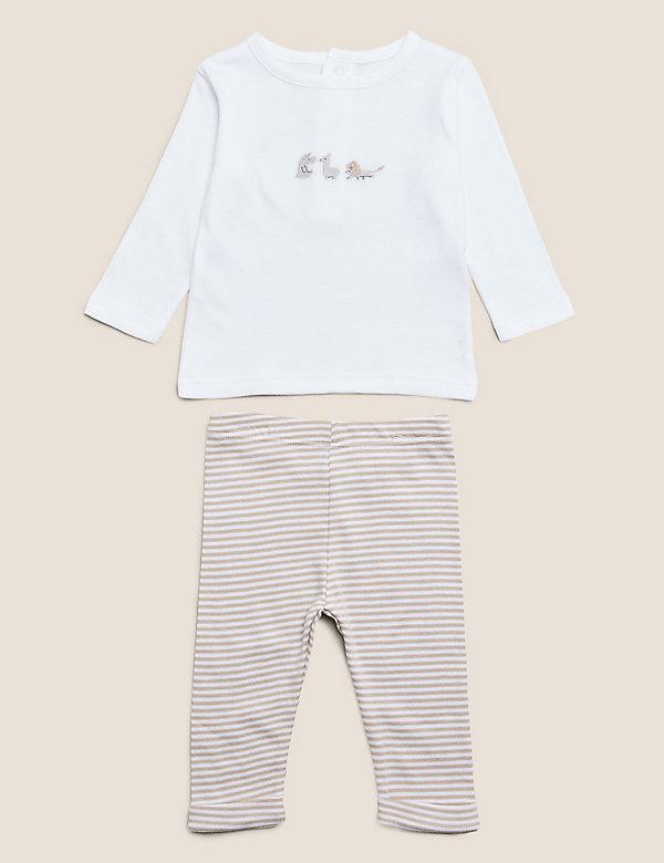 2-teiliges Outfit aus Bio-Baumwolle mit Stickerei (3,2 kg – 12 Monate)