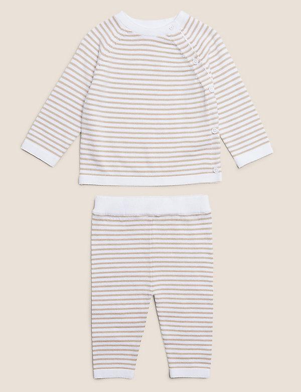 2-teiliges gestreiftes Strick-Outfit aus Bio-Baumwolle (3,2 kg – 12 Monate)