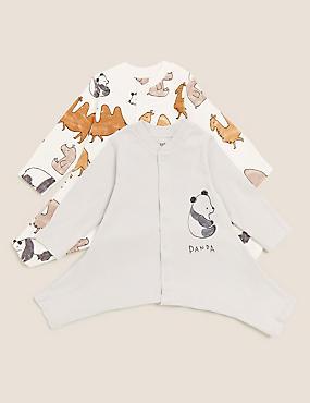 2pk Hip Dysplasia Pure Cotton Sleepsuits (0lbs-12 Mths)