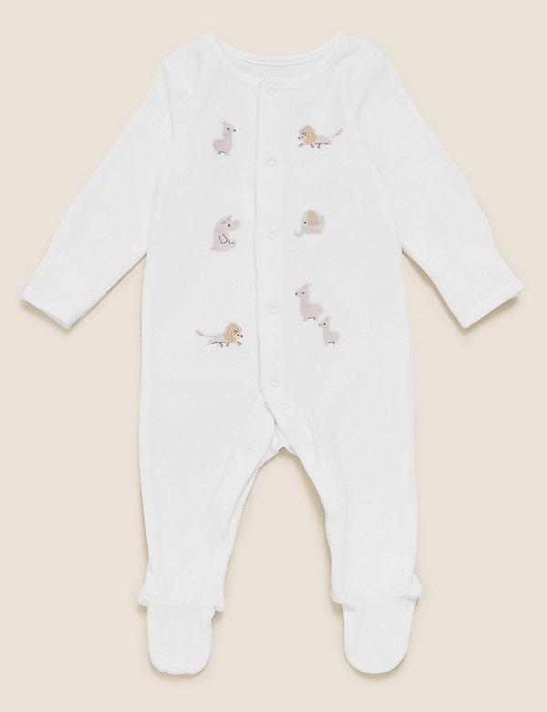 Schlafanzug aus Baumwollvelours mit Tiermuster (3,2 kg – 12 Monate)