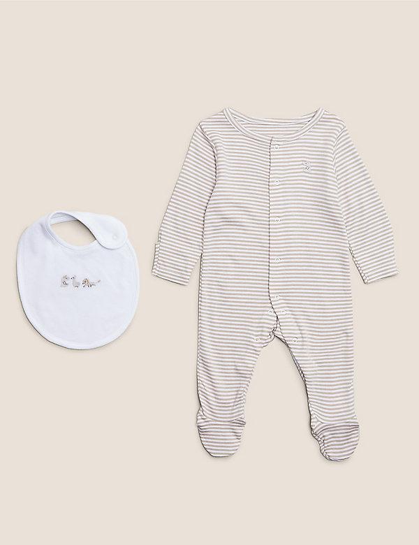 2-teiliges Set mit Schlafanzug und Lätzchen aus Bio-Baumwolle (3,2 kg – 12 Monate)