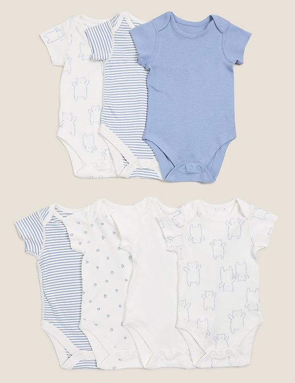 7er-Pack gemusterte Bodys aus reiner Baumwolle (0–3 Jahre)