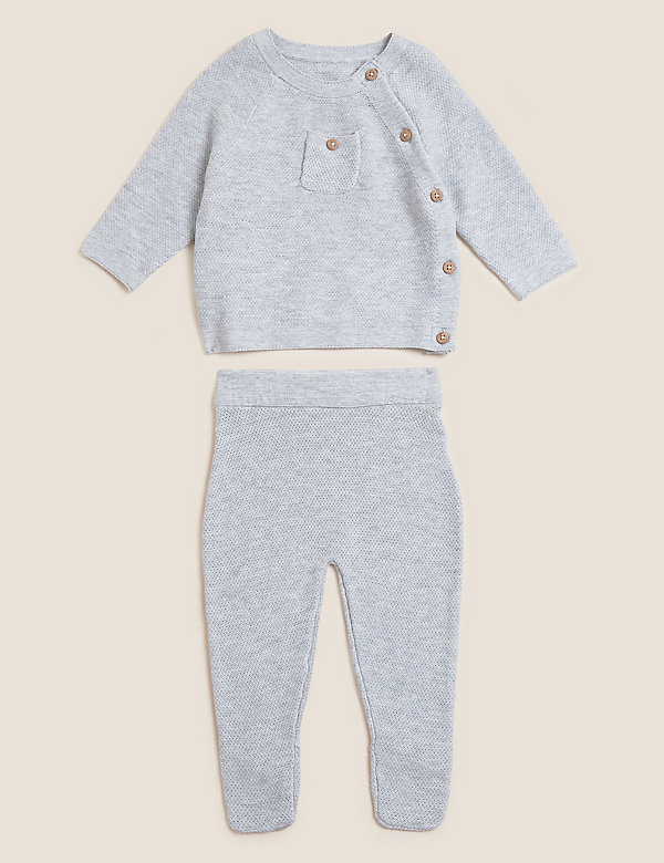 2pc Pure Cotton Knitted Outfit (7lbs - 12 Mths)