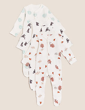 3pk Pure Cotton Print Sleepsuits (61/2lbs- 3 Yrs)