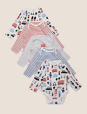 Pack de 5 bodies de algodón con diseño de londres (0-3años)